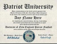 PATRIOTS~NEW ENGLAND PATRIOTS  MAN CAVE ~ CERTIFICATE ~ DIPLOMA  GREAT GIFT