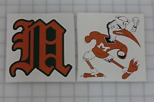 Set of 2 Miami Hurricanes NCAA Vinyl Bumper Sticker Decal Cornhole Wall Car
