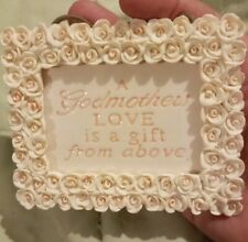 Vintage Godmother ceramic Miniature wall hanging, white roses border