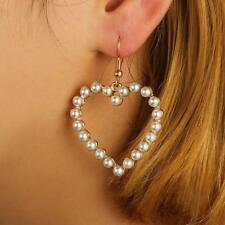 Women's Hollow Love Heart Pearl Dangle Earrings Gold Plated Jewelry erus