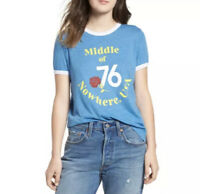 Wildfox Womens Johnny Ringer Blue Short Sleeve T Shirt Size Medium NEW