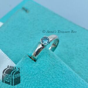 Tiffany & Co. 925 Silver Aquamarine Stacking Ring Sz. 5.5 (pouch)