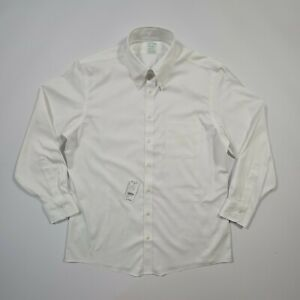 Brooks Brothers Men's White Non-Iron Long Sleeves Slim Fit Milano Shirt Large