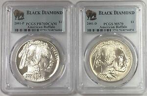 2001-P & D American Buffalo Silver $1 PCGSPR70DCAM MS70 Black Diamond 2 COIN SET