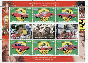 Guinea 1998 MNH Enzo Ferrari Michael Schumacher Villeneuve 9v M/S Cars Stamps