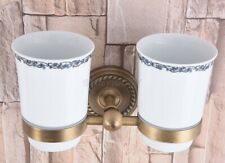 Antique Brass Wall Mount Bathroom Toothbrush Holders Double Ceramic Cups