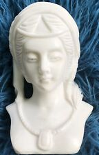 """Antique Carved Marble Stone Bust Sculpture young woman maiden alabaster 10"""""""
