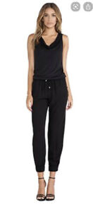 Splendid Hooded Jersey Jumpsuit Black Size Small