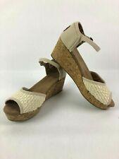 Toms Wedge Platform Peep toe heel Cream Womens size 9 Shoes Cork