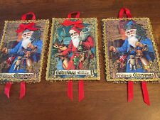 Three Santa Christmas Ornaments Old World Reindeers Presents Ribbons