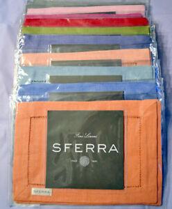 "Sferra Festival 902 Linen Cocktail Napkins Set of 4 6x9"" New Choose Color"