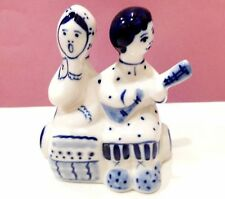 Girl and boy Porcelain figurine Gzhel Souvenir from Russia folk craft music