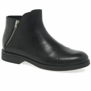 GEOX AGATA GIRLS YOUTH LADIES ADULTS ANKLE BLACK LEATHER KIDS WINTER BOOTS