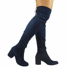 Ladies Thigh High Boots Over The Knee Lace Up Casual Long Low Heel Shoes Size