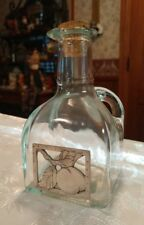 Green Square Glass Cruet with Stopper Pewter Peach ? Medallion Made in Italy