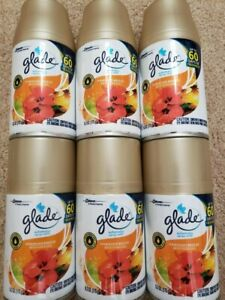 6 Glade Hawaiian Breeze Automatic Spray Air Freshener Refills ( 6 NEW x 6.2 oz )