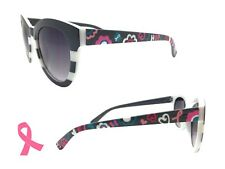 Gray Cat Eye Hand Painted Sunglasses for Breast and Ovarian Cancer Awareness