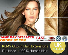 "100% Real Human Hair Extensions Weft Full Head 18"" 20"" 22"" Clip In Remy Long 8pc"