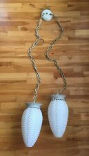 Vintage MOE LIGHT Thomas IND Double Hanging Swag Glass Light Fixture Mid Century