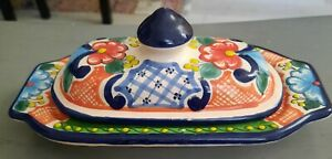 Vintage Arle Cruz Mexican butter dish hand painted