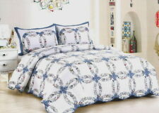 Blue Wedding Ring 3pc King Quilt Set : Cottage Romantic Country Floral Garden