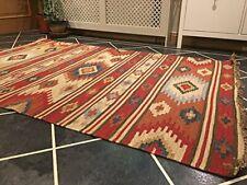 Kashi Kilim Area Rug Red Multi Colour Geometric Fine Wool Cotton Fair Trade Rug