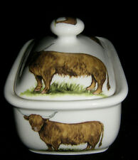 BN Bone China Traditional Highland Cow Butter Dish and Lid, Uk made China dish