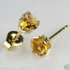 Studex Sensitive Gold 5mm Yellow Topaz November Birthstone Stud Earrings
