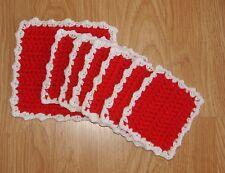 Handmade, Crochet drink Coasters - Red w/ white trim