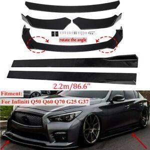 """Glossy Black Front Bumper Lip Spoiler Splitter + 86.6"""" Side Skirt For Infiniti"""