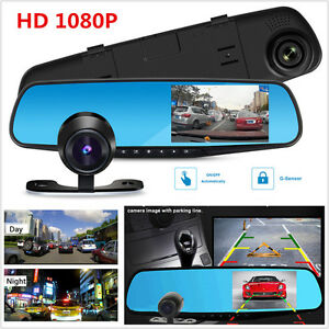 "1080P HD 4.3"" 170°Car DVR Dash Camera Dual Cam Vehicle Front Rear Video Recorder"