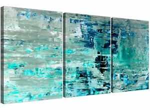 Turquoise Teal Abstract Painting Wall Art Print Canvas - Multi Set of 3 - 3333