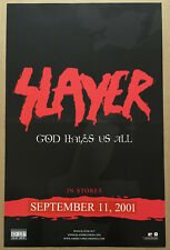 Slayer Rare 2001 Promo Poster w/ Correction Tape Strip of God Cd Never Displayed