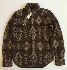 $795 NTW RRL RALPH LAUREN DOUBLE RL SILK LINEN SWEATER SHIRT SMALL