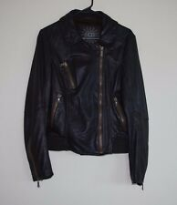$900 UGG WOMEN LEATHER BIKER MOTORCYCLE LAMBSKIN JACKET COAT CHOCOLATE Sz LARGE