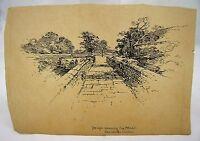 BRIDGE ON MOAT BADDESLEY CLINTON Addenbrooke Antique Pen & Ink Drawing c.1900*