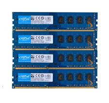 Crucial 4x 4GB 2Rx8 PC3-12800U DDR3 1600Mhz DIMM 240Pin Desktop Memory RAM CL11