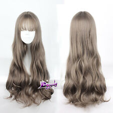 "28"" Mixed Brown Long Curly Hair Lolita Women Party Anime Cosplay Wig + Cap"