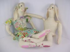 "Country Bunny Rabbit Pair 38"" Vintage Stuffed Animal Country Farm Decor Homemade"