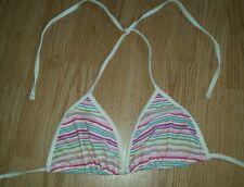 gorgous cream multi coloured striped ACCESSORIZE halterneck bikini top size S