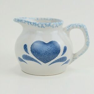 "Sponged Heart Creamer With Blue Heart Design Stoneware  3.5"" Tall and 5"" Wide"