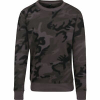 Build your Brand Mens Camo Camoflage Crew Neck Sweatshirt Pullover Jumper Top