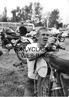 STEVE MCQUEEN WORKING ON HIS MOTORCYCLE 5X7 PHOTO DIRT BIKE MOTOCROSS RACING