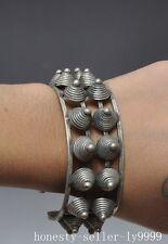 old chinese tibet silver Hand-carved Fine Spiral Ornamentation bracelet Bangle