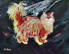 "English Long Hair Cat, Original Acrylic Painting ""Gladsome Anyhow"" Feline Art"