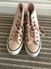 Converse All Star Pale Pink Ladies/Junior Leather Hi Top Boots Shoes Size UK 4