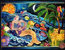 LAUREL BURCH Mermaid Sun Fish Leopards GLITTERED  Birthday Greeting Card - NEW