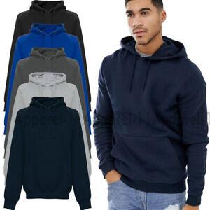 Men's Boys Plain Casual Jumper Pullover Top Activewear Sweatshirt Hoodie UKS-5XL