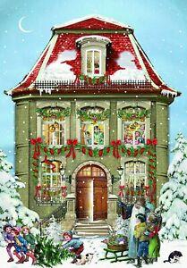 Mini House Advent Calendar Christmas Victorian Style Glittered envelope a