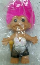 """Troll Dressed Rocker Lady 5"""" #18635 Toy Doll Pink Hair Russ Troll Collectible"""